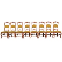 Baker Furniture French Country High Back Dining Chairs, Set of Eight