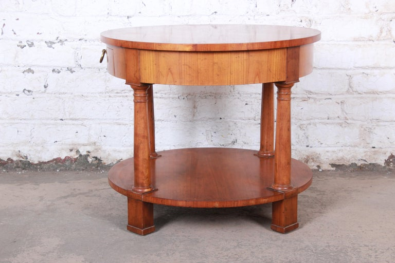 Baker Furniture French Empire Cherrywood Occasional Table or Nightstand, 1960s For Sale 4