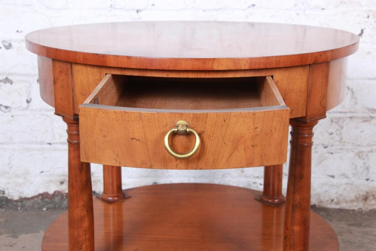 Baker Furniture French Empire Cherrywood Occasional Table or Nightstand, 1960s For Sale 1