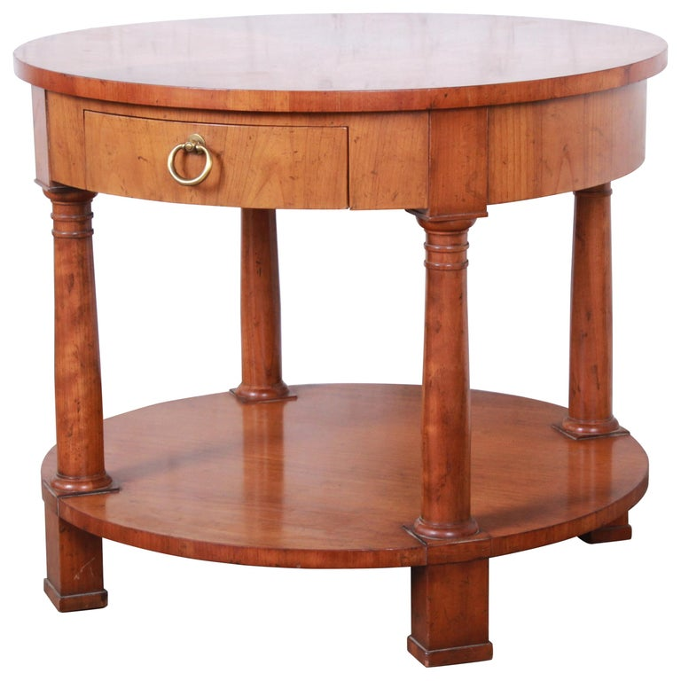 Baker Furniture French Empire Cherrywood Occasional Table or Nightstand, 1960s For Sale