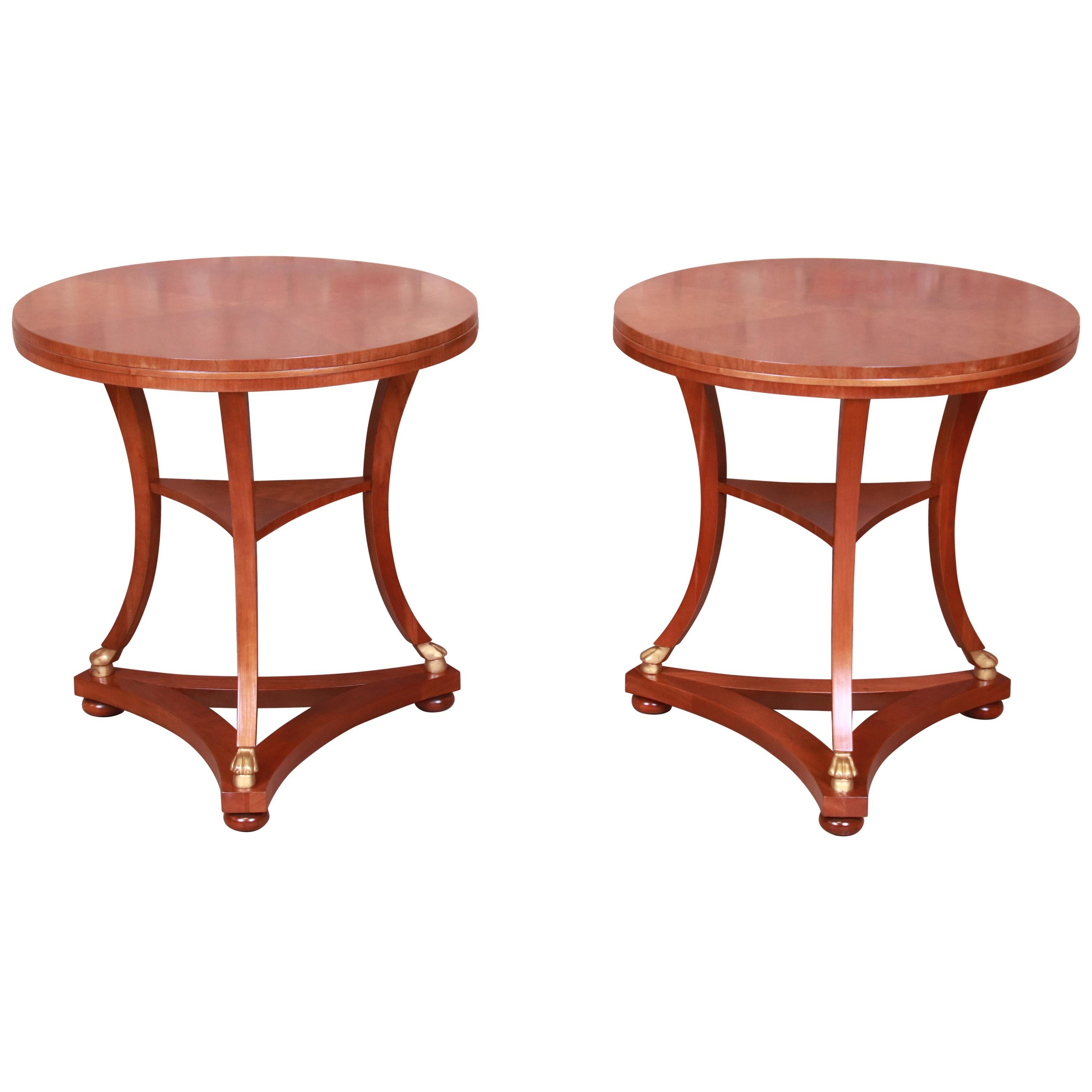 Baker Furniture French Empire Mahogany Side Tables, Newly Refinished