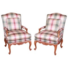 Baker Furniture French Provincial Louis XV Bergère Chairs, Pair