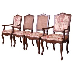 Baker Furniture French Provincial Louis XV Carved Walnut Dining Chairs, Set of 4