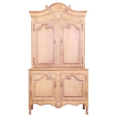 Baker Furniture French Provincial Louis XV Carved White Oak Armoire Dresser