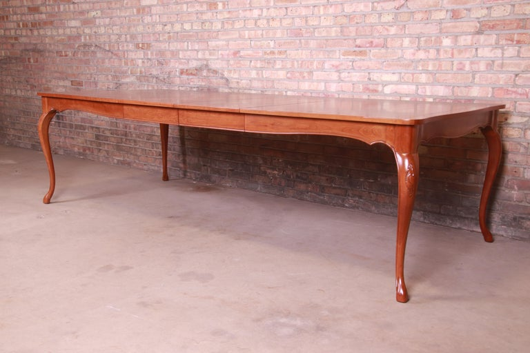 American Baker Furniture French Provincial Louis XV Cherrywood Dining Table, Refinished For Sale