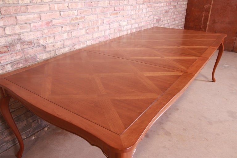 Baker Furniture French Provincial Louis XV Cherrywood Dining Table, Refinished For Sale 2