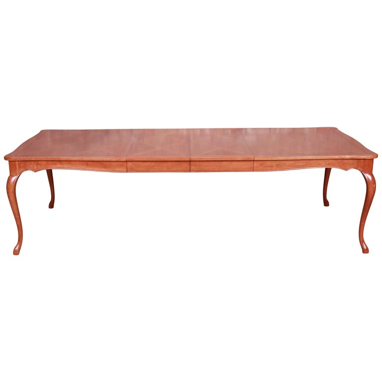 Baker Furniture French Provincial Louis XV Cherrywood Dining Table, Refinished For Sale
