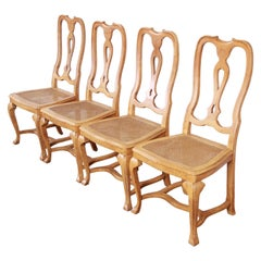Baker Furniture French Provincial Louis XV Oak and Cane Dining Chairs, Set of 4