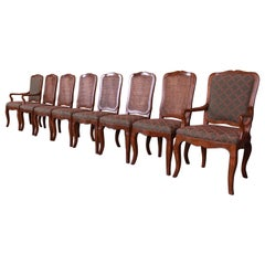 Baker Furniture French Provincial Louis XV Oak and Cane Dining Chairs, Set of 8