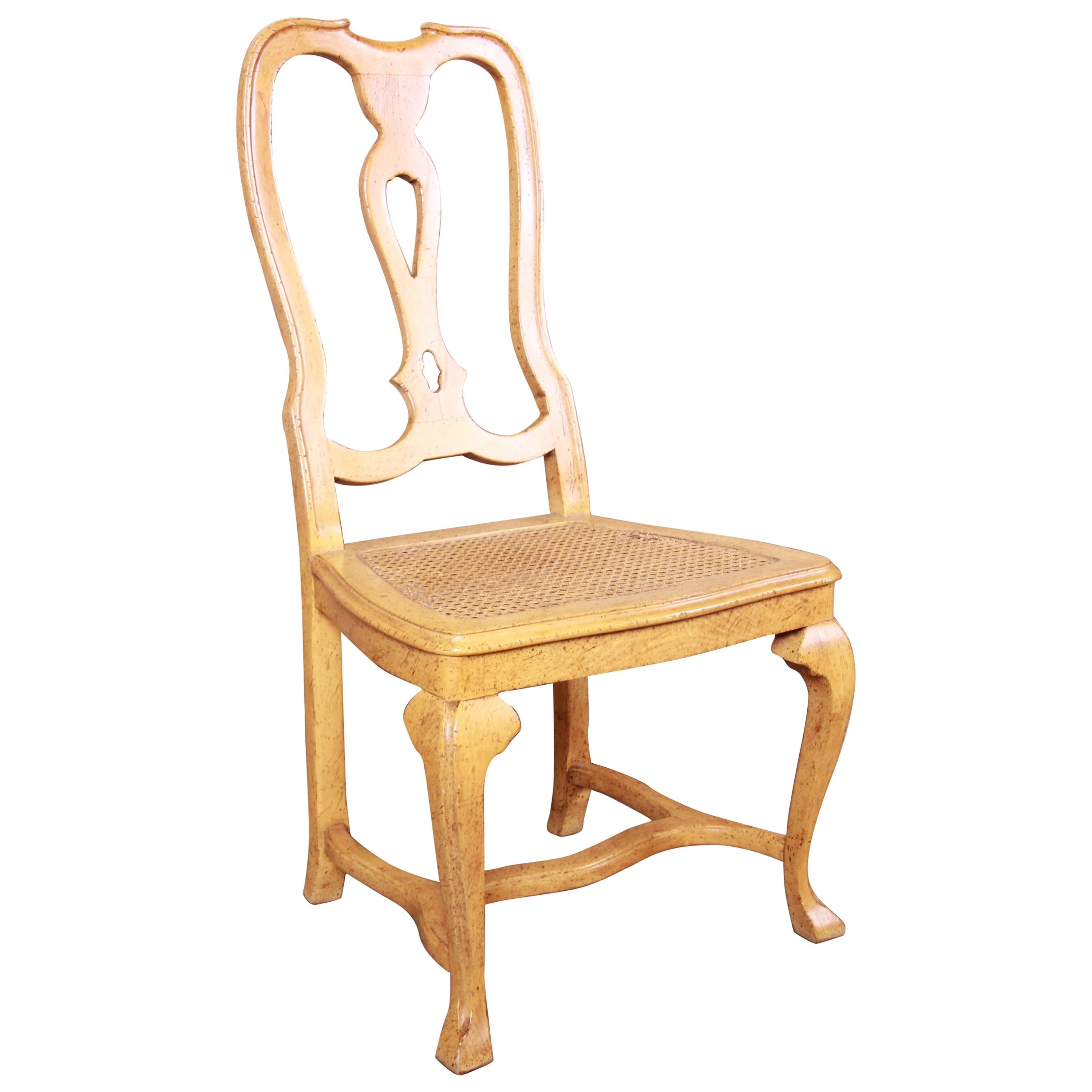 Baker Furniture French Provincial Louis XV Oak and Cane Dining or Side Chair