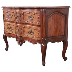 Baker Furniture French Provincial Louis XV Walnut Chest of Drawers or Commode