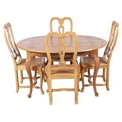 Baker Furniture French Provincial Louis XV White Oak Dining Set