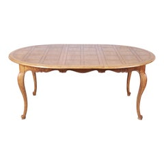 Baker Furniture French Provincial Louis XV White Oak Extension Dining Table