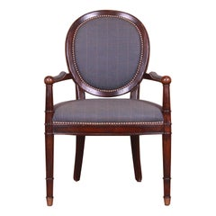 Baker Furniture French Provincial Louis XVI Carved Walnut Fauteuil
