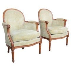 Baker Furniture French Provincial Louis XVI Fauteuils, Pair