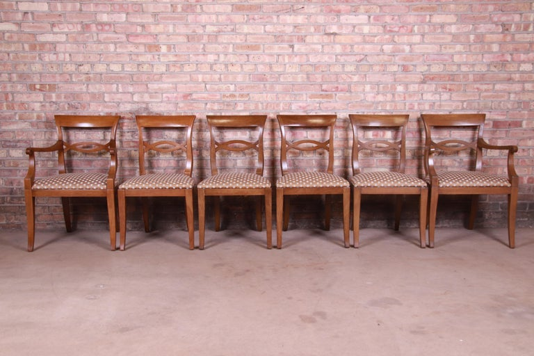 American Baker Furniture French Provincial Walnut Dining Chairs, Set of Six