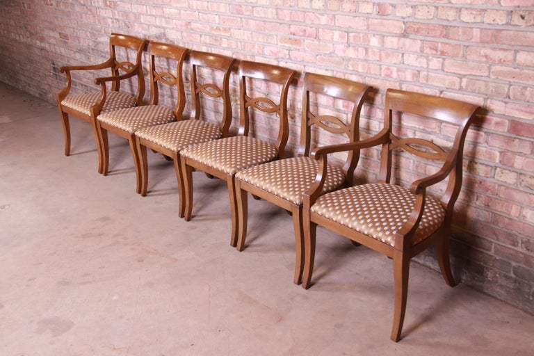 Baker Furniture French Provincial Walnut Dining Chairs, Set of Six In Good Condition In South Bend, IN