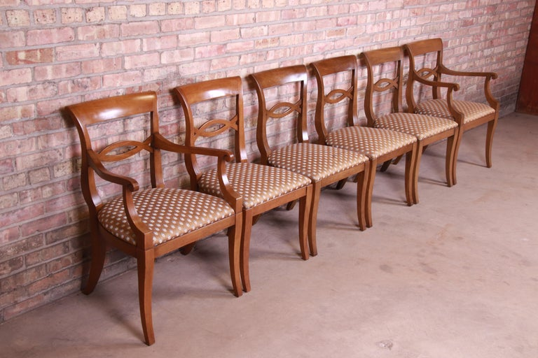 20th Century Baker Furniture French Provincial Walnut Dining Chairs, Set of Six
