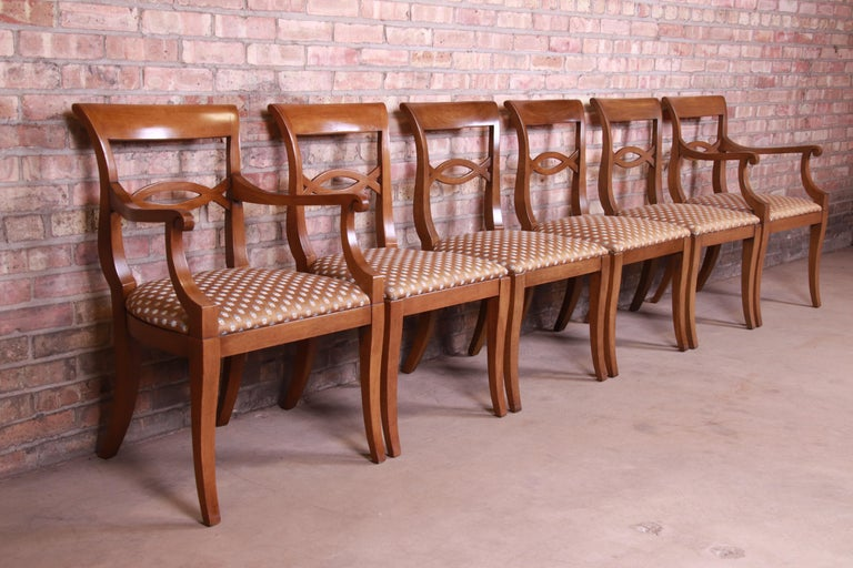 Upholstery Baker Furniture French Provincial Walnut Dining Chairs, Set of Six
