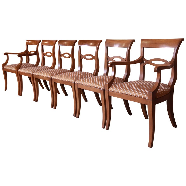 Baker Furniture French Provincial Walnut Dining Chairs, Set of Six