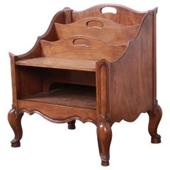 Baker Furniture French Provincial Walnut Magazine Rack or Record Holder