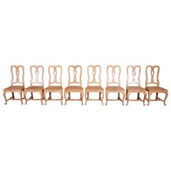 Baker Furniture French Provincial White Oak and Cane Dining Chairs, Set of Eight