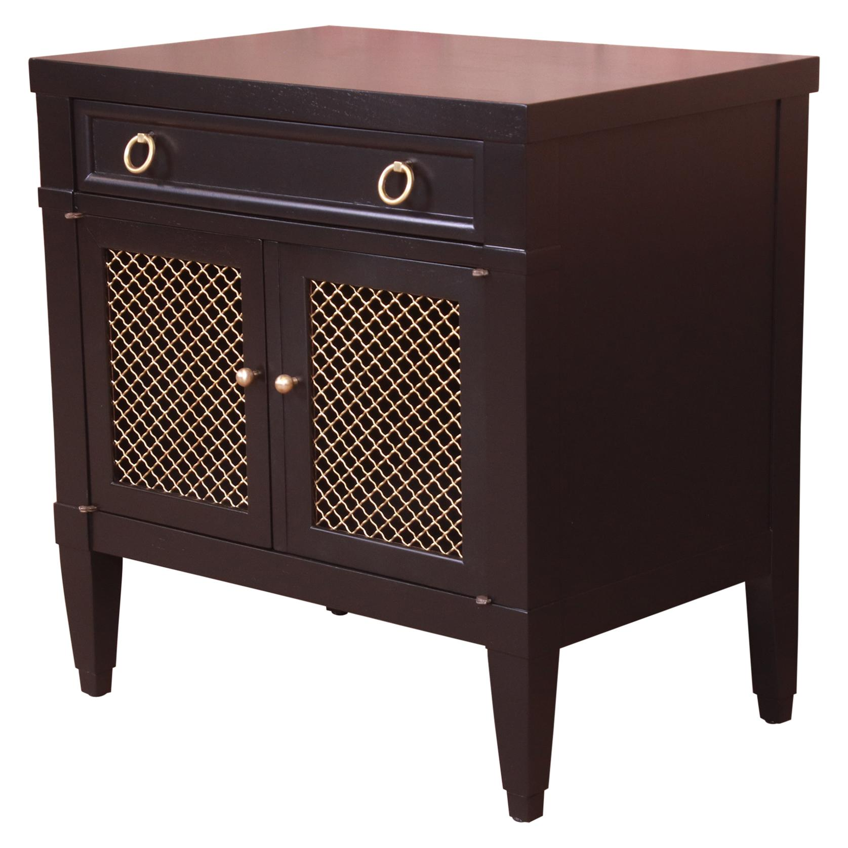 Baker Furniture French Regency Black Lacquered Nightstand, Newly Refinished
