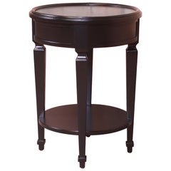 Baker Furniture French Regency Black Lacquered Tea Table, Newly Refinished