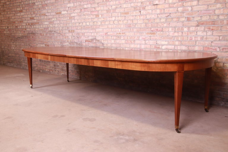 Baker Furniture French Regency Cherrywood Extension Dining Table, Refinished In Good Condition In South Bend, IN