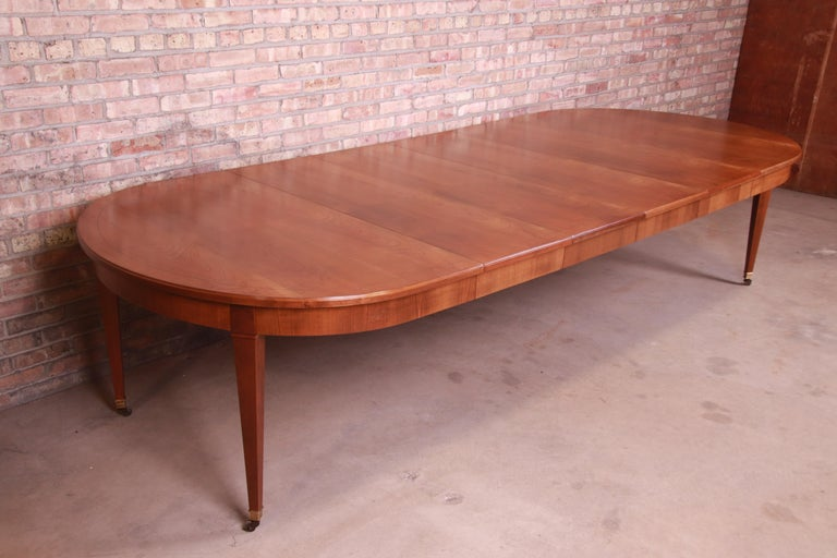 20th Century Baker Furniture French Regency Cherrywood Extension Dining Table, Refinished