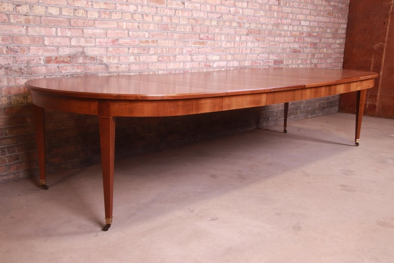 Brass Baker Furniture French Regency Cherrywood Extension Dining Table, Refinished