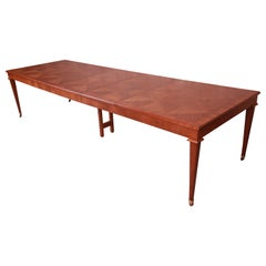 Baker Furniture French Regency Cherry Wood Extension Dining Table, Refinished