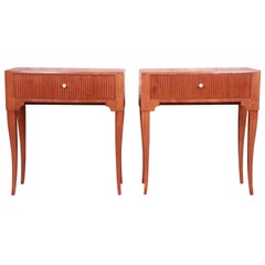 Baker Furniture French Regency Louis XV Cherrywood Nightstands, Refinished