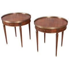 Baker Furniture French Regency Louis XVI Walnut Tea Tables, Pair