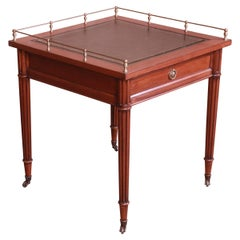 Baker Furniture French Regency Mahogany Leather Top Tea Table with Brass Gallery