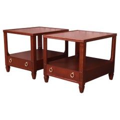 Baker Furniture French Regency Mahogany Nightstands or End Tables, Refinished