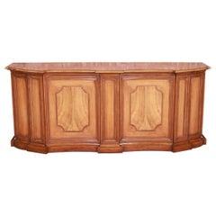 Baker Furniture French Regency Walnut and Burl Wood Sideboard or Bar Cabinet