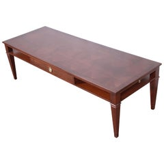 Baker Furniture French Regency Walnut Coffee Table with Parquet Top, Refinished