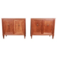 Baker Furniture French Regency Walnut Commodes or Large Bedside Chests, Pair