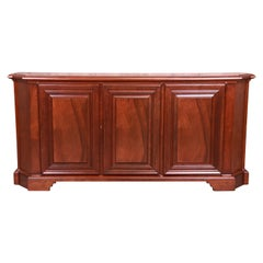 Baker Furniture French Regency Walnut Sideboard or Bar Cabinet, Newly Refinished