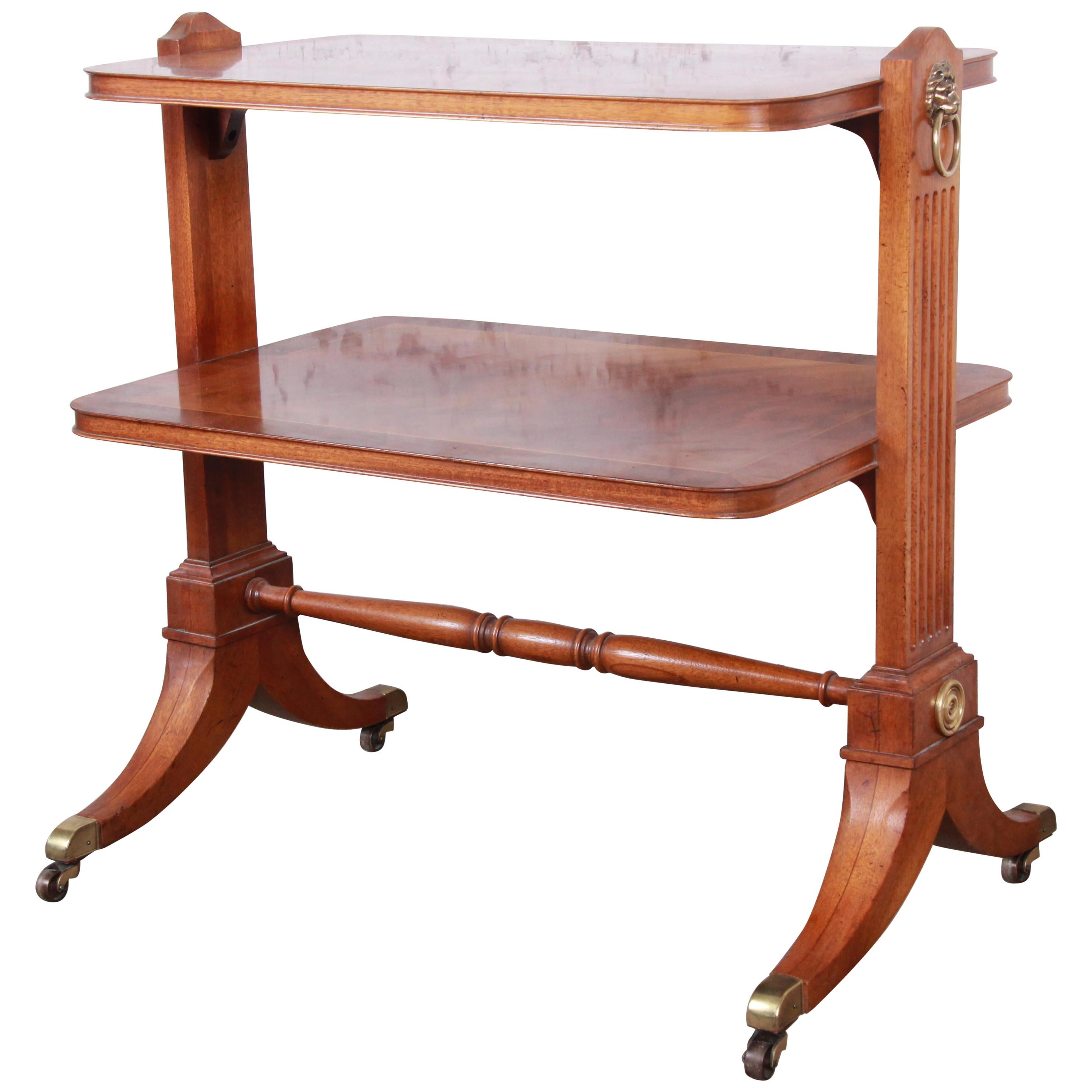 Baker Furniture Georgian Banded Mahogany Two-Tier Side Table