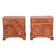 Baker Furniture Georgian Burl Wood Nightstands, Newly Refinished