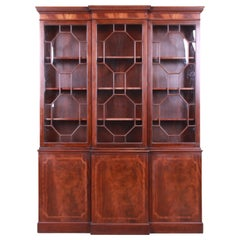 Baker Furniture Georgian Flame Mahogany Breakfront Bookcase Cabinet, circa 1940s