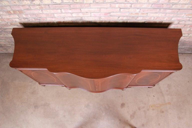 Baker Furniture Georgian Flame Mahogany Sideboard or Bar Cabinet, Newly Restored For Sale 1