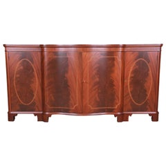 Baker Furniture Georgian Flame Mahogany Sideboard or Bar Cabinet, Newly Restored