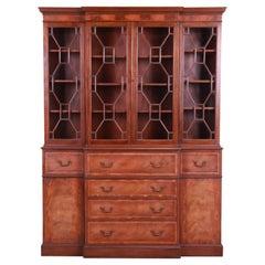 Baker Furniture Georgian Mahogany Breakfront Bookcase Cabinet