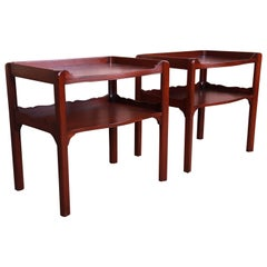 Baker Furniture Georgian Mahogany Two-Tier Nightstands or End Tables, Restored