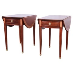 Baker Furniture Georgian Style Banded Mahogany Pembroke Side Tables, Pair