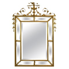Baker Furniture Giltwood and Gesso Decorative Beveled Wall Mirror