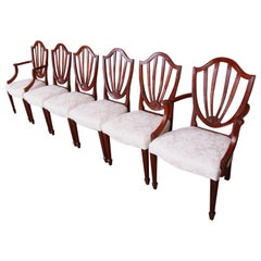 Baker Furniture Historic Charleston Carved Mahogany Dining Chairs, Set of Six